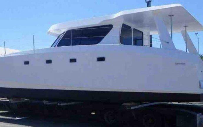 Catamaran express cruiser / outboard / twin-engine / hard-top