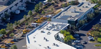 Cropped aerial photo of Sullivan Solar Power's headquarters in San Diego